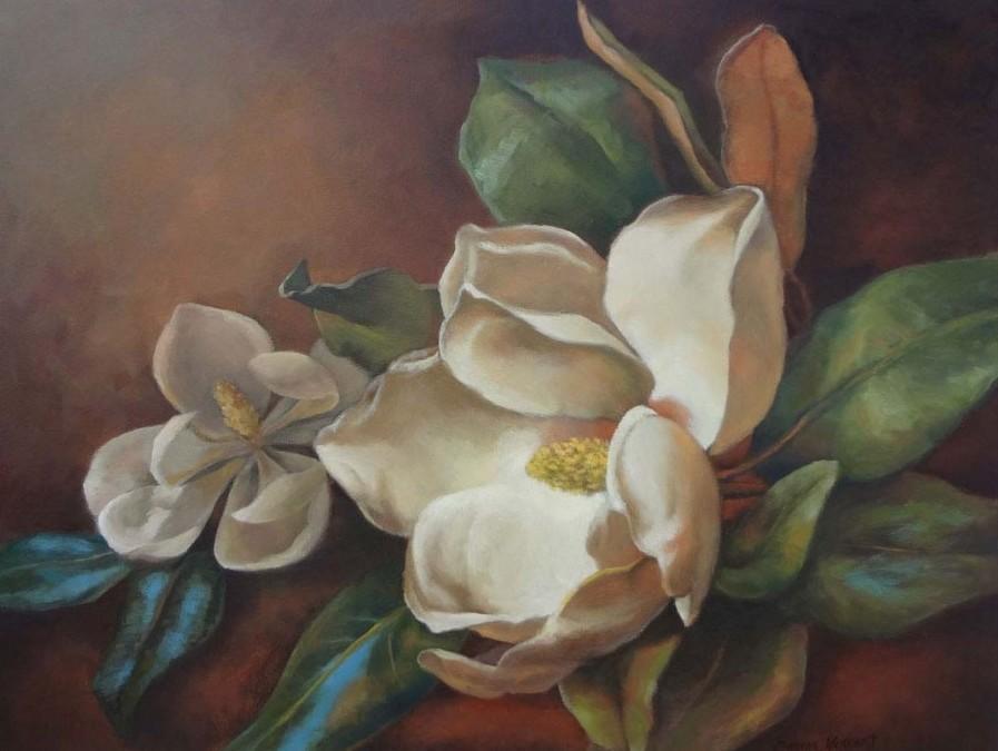 Magnolias - Oil - 22 x 28 - Sold