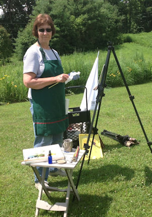 Sharon outdoors plein air painting.