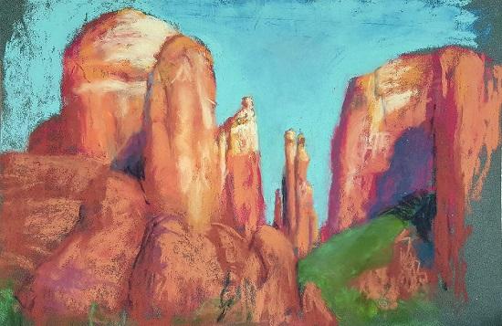 Cathedral Rocks - 9 X 12 - Pastel